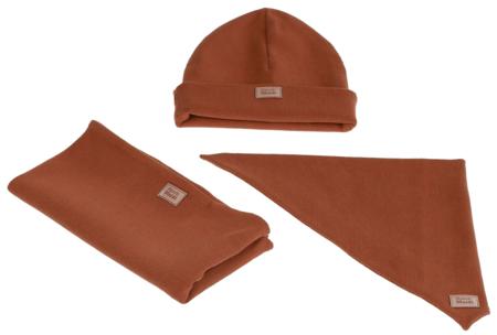Komplet czapka chusta i komin: CYNAMONEK