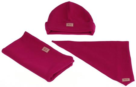 Komplet czapka chusta i komin: RUBINEK