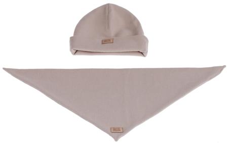 Komplet czapka i chusta: BISZKOPTOWY