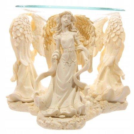 Kremowa figurka aniołów - podstawka pod świeczki z naczynkiem na
